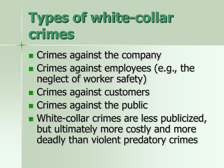 Types of white-collar crimes