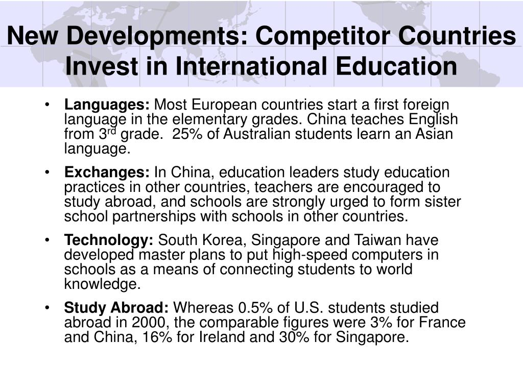 New Developments: Competitor Countries Invest in International Education
