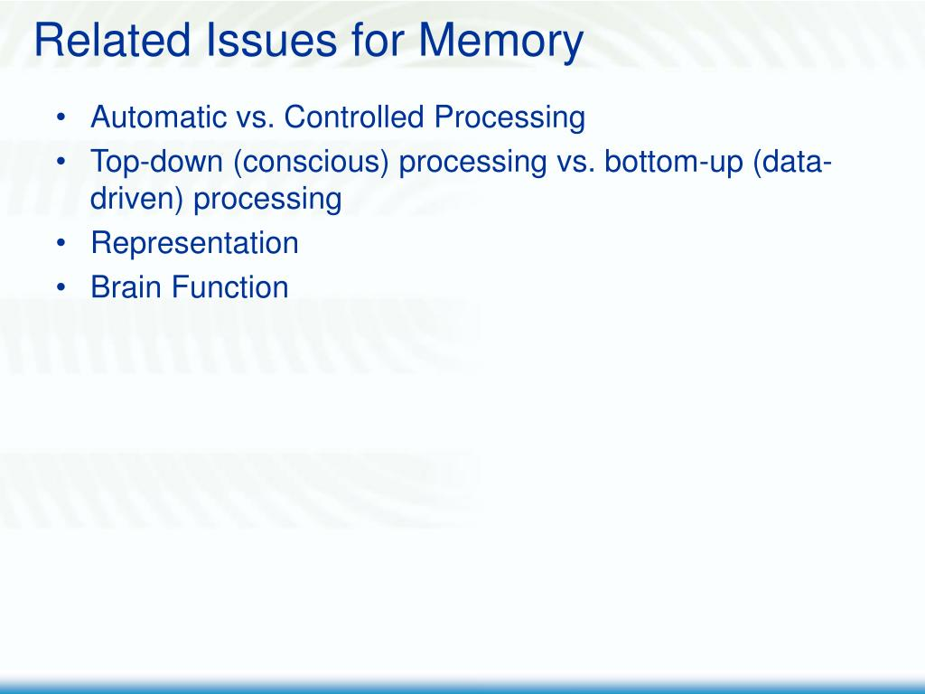 Related Issues for Memory