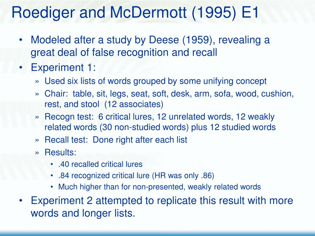 Roediger and McDermott (1995) E1