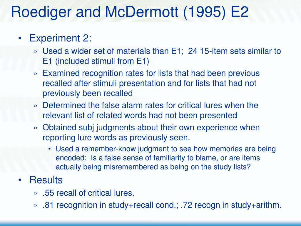 Roediger and McDermott (1995) E2