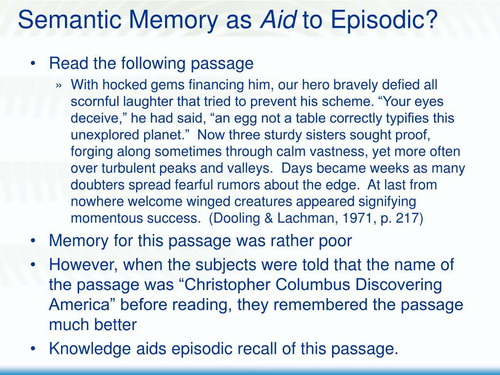 Semantic Memory as