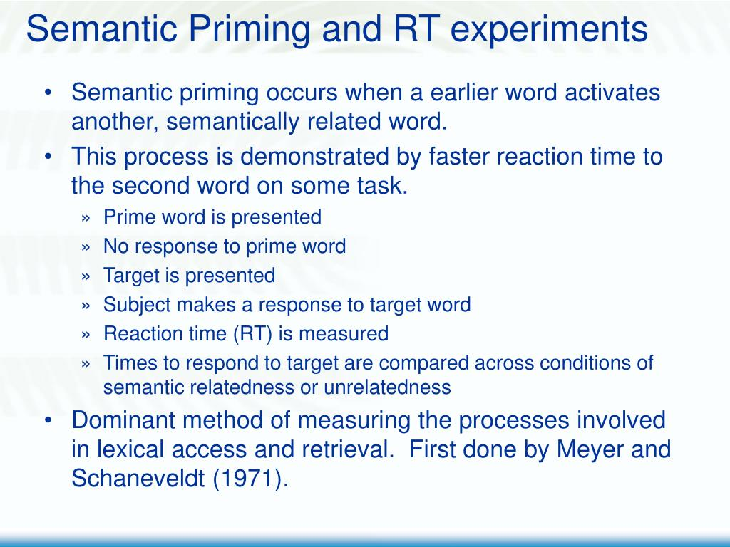 Semantic Priming and RT experiments