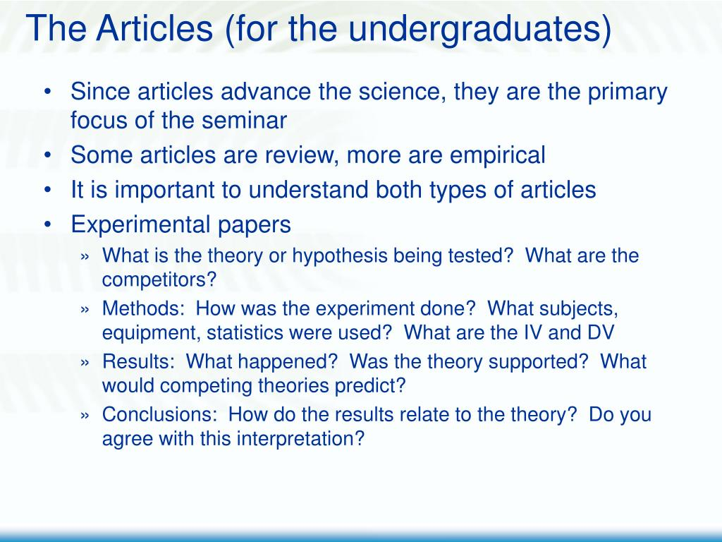 The Articles (for the undergraduates)