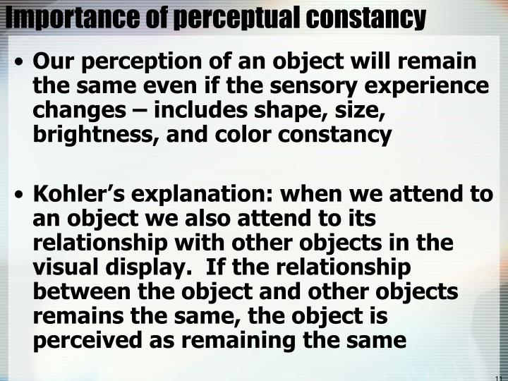 Importance of perceptual constancy