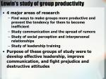 lewin s study of group productivity