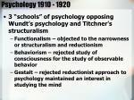 psychology 1910 1920