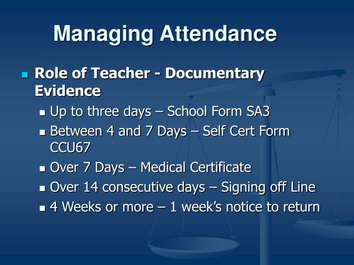 Managing Attendance