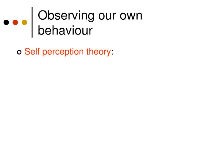 Observing our own behaviour