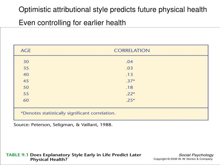 Optimistic attributional style predicts future physical health