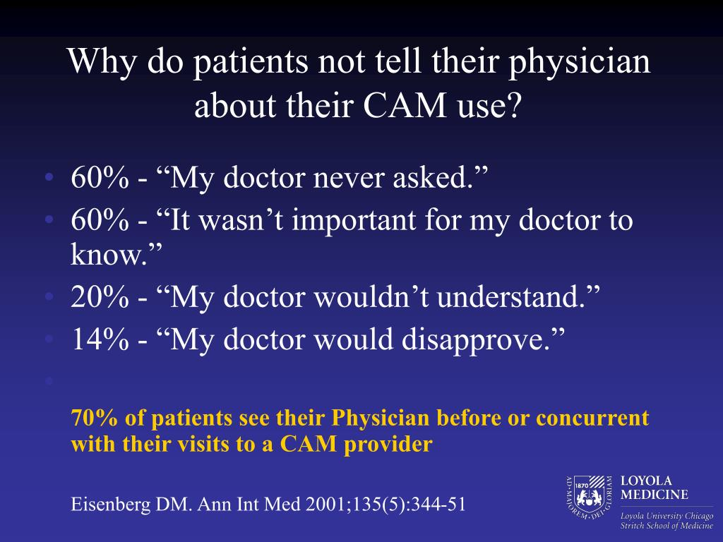 Why do patients not tell their physician about their CAM use?