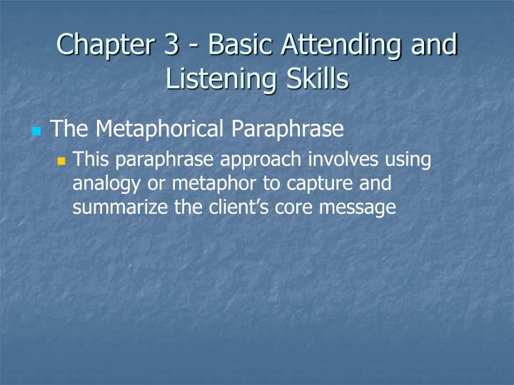 attending skills Basic counselling skills 1 attending behaviour 2 closed and open-ended questions 3 paraphrase 4  basic counseling skills module: theoretical approaches to .