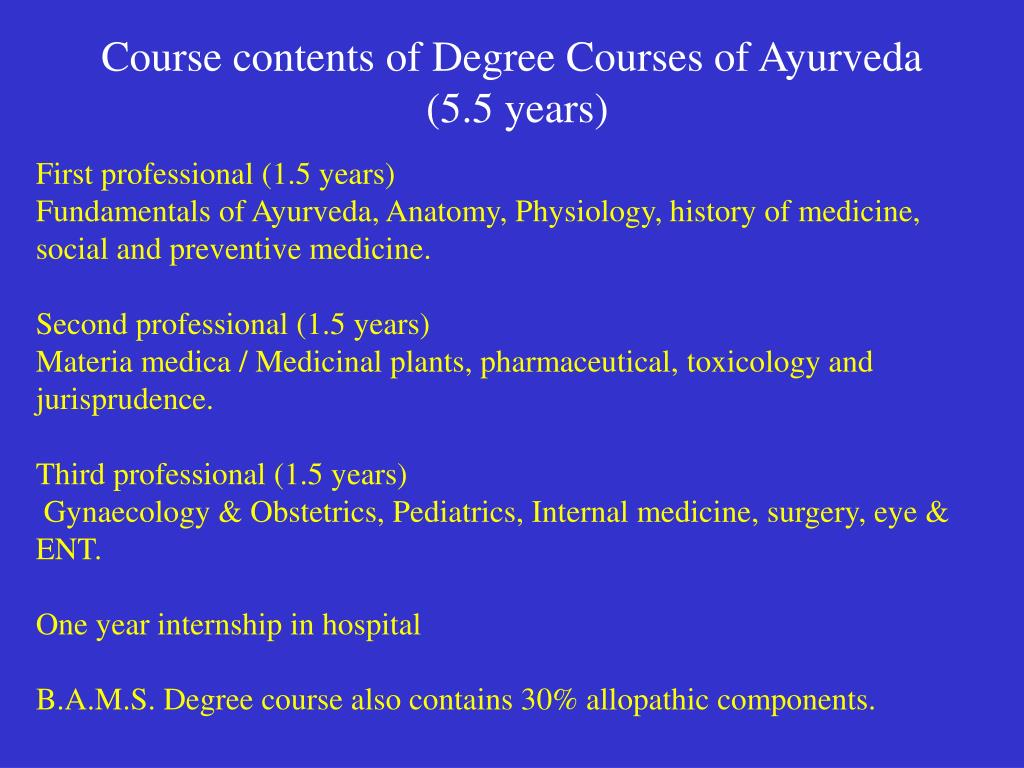 Course contents of Degree Courses of Ayurveda