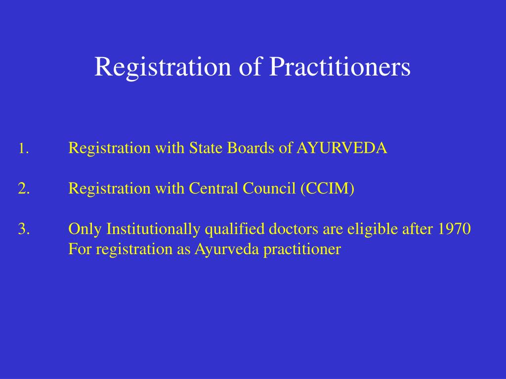 Registration of Practitioners