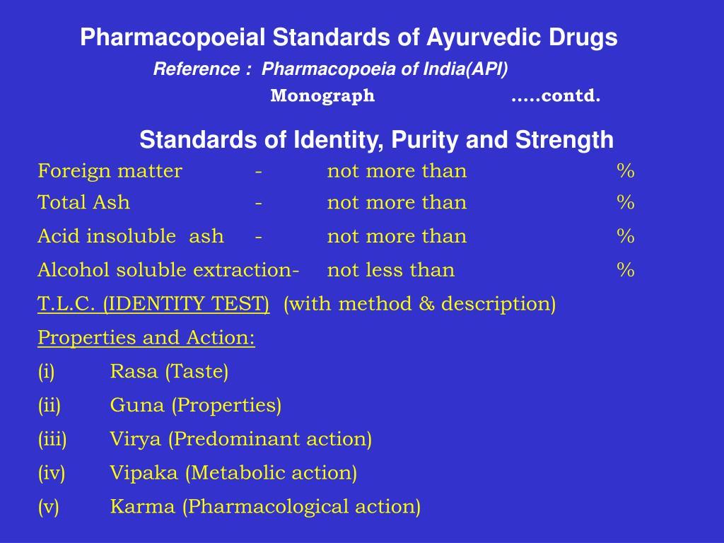 Pharmacopoeial Standards of Ayurvedic Drugs
