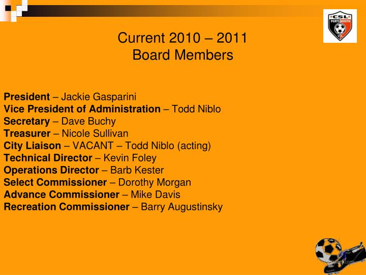 Current 2010 2011 board members