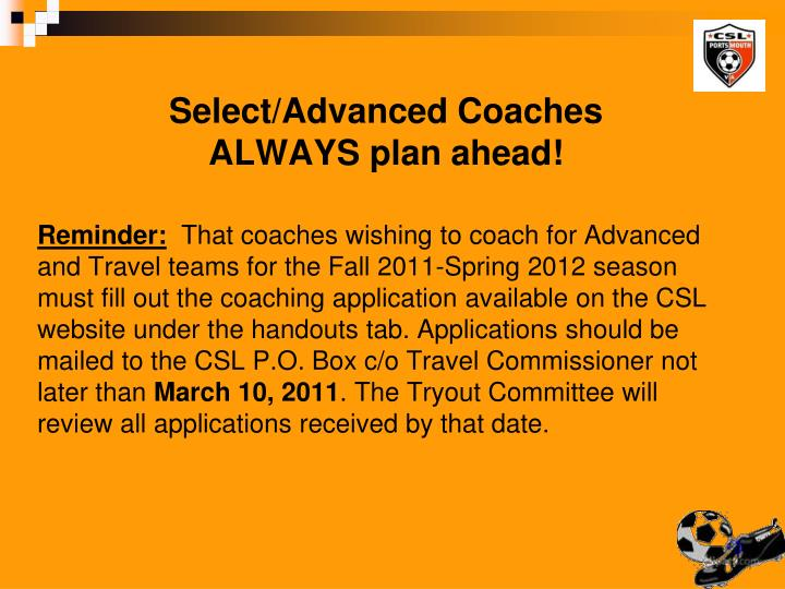 Select/Advanced Coaches