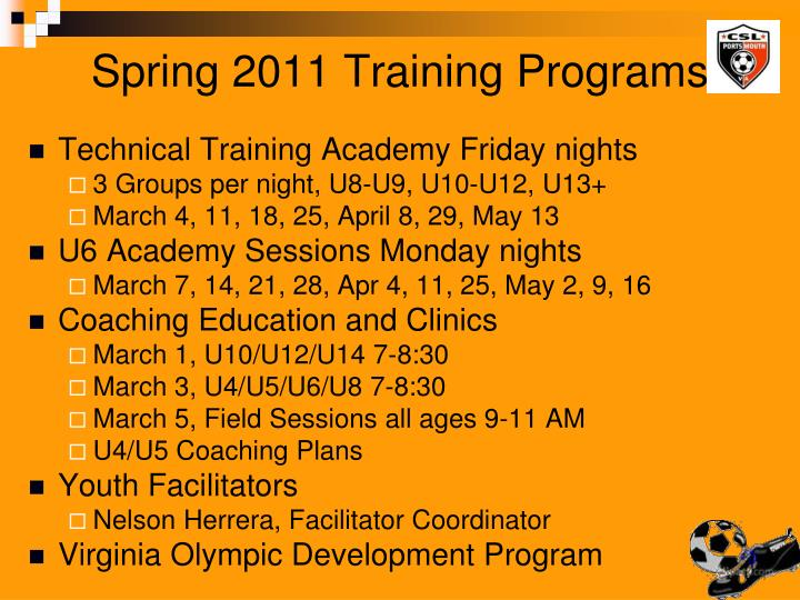 Spring 2011 Training Programs