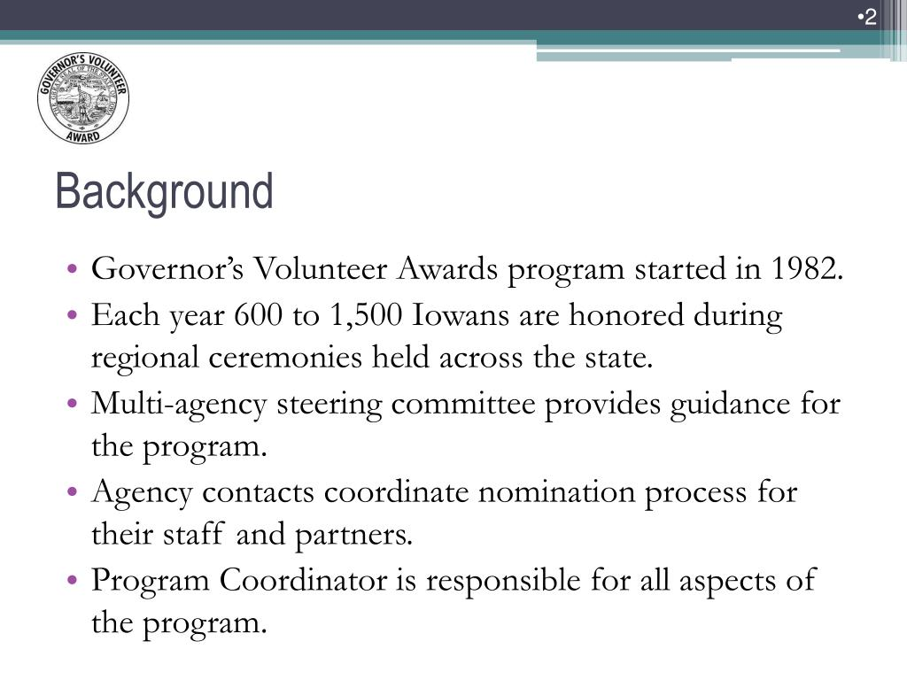 Governor's Volunteer Awards program started in 1982.