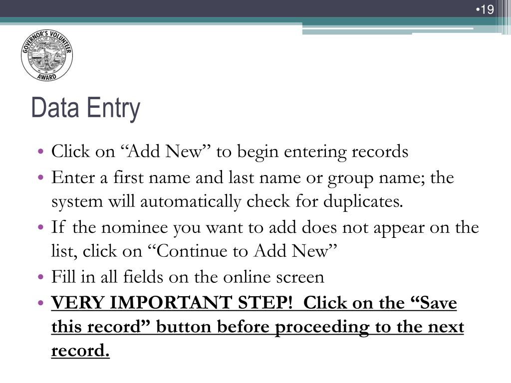 "Click on ""Add New"" to begin entering records"