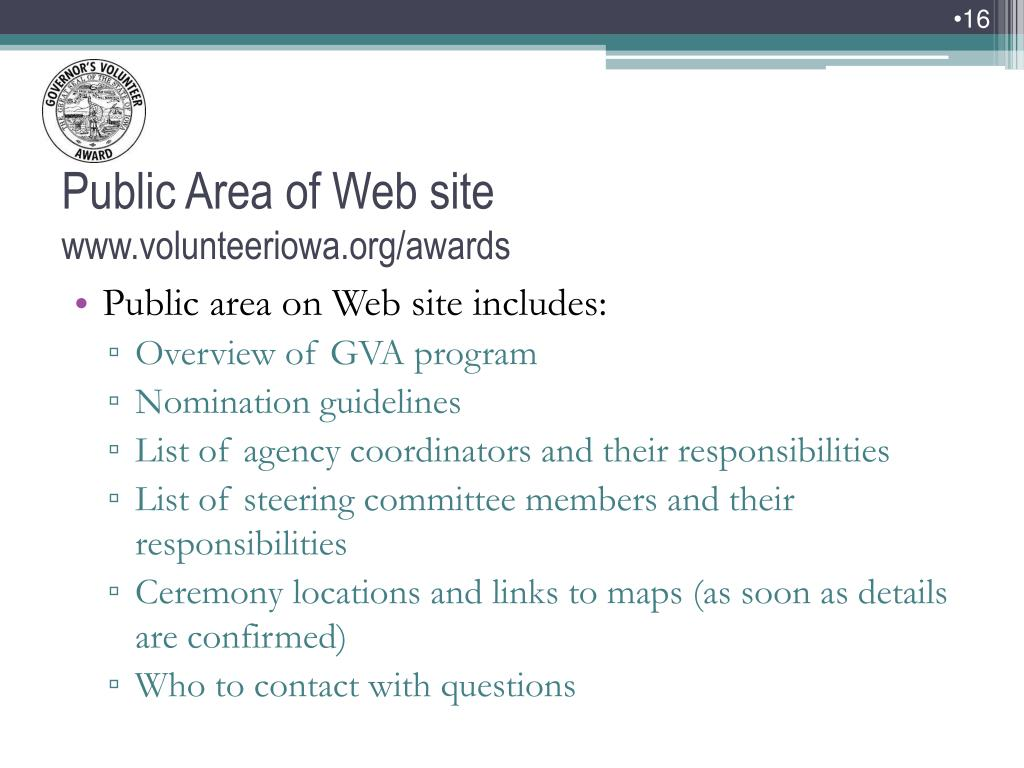 Public area on Web site includes: