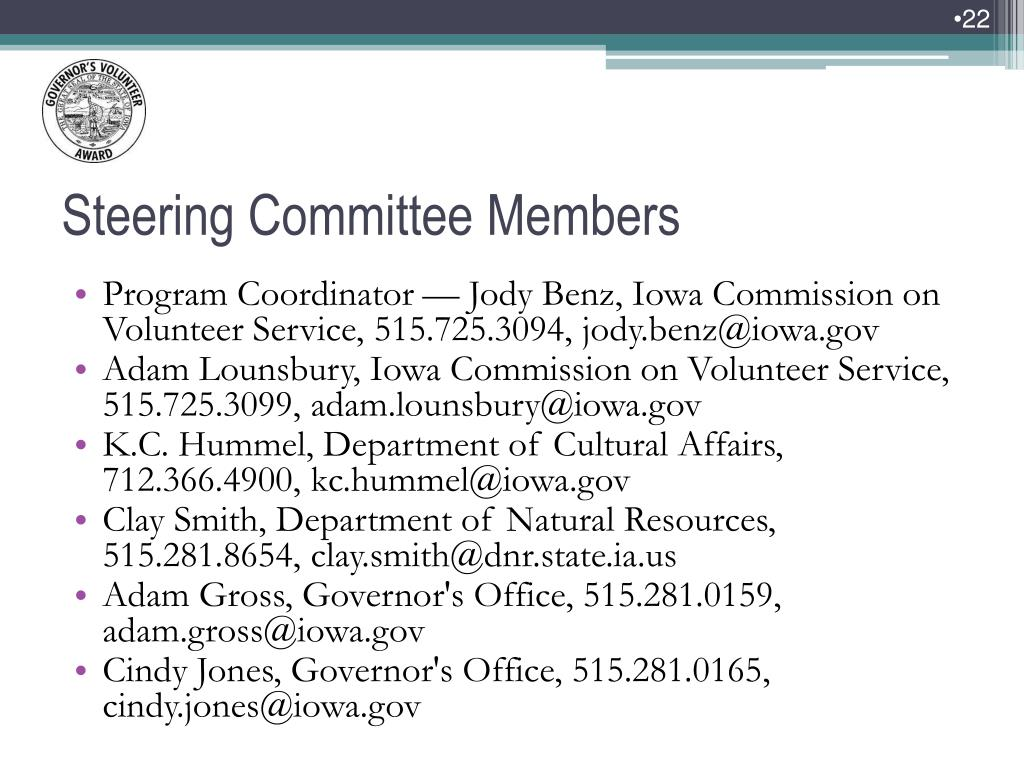 Program Coordinator — Jody Benz, Iowa Commission on Volunteer Service, 515.725.3094, jody.benz@iowa.gov