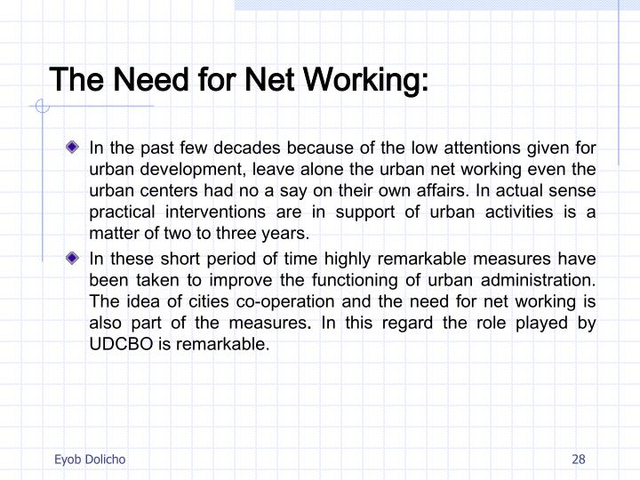 The Need for Net Working: