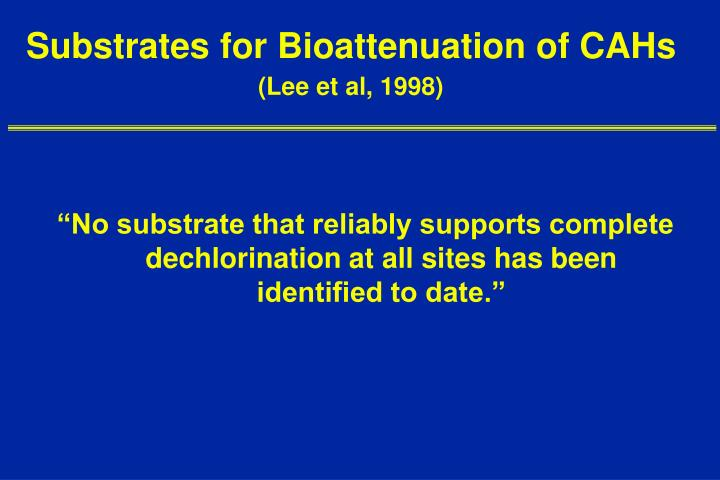 Substrates for Bioattenuation of CAHs
