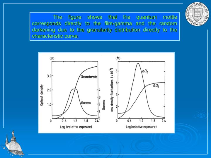 The figure shows that the quantum mottle corresponds directly to the film-gamma and the random darkening due to the granularity distribution directly to the characteristic curve.