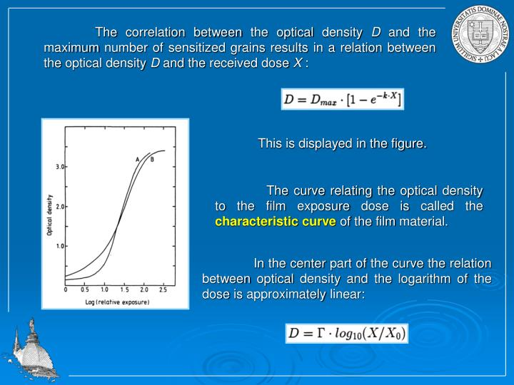 The correlation between the optical density
