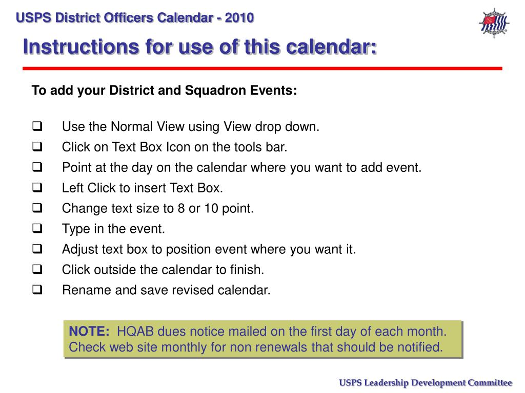 Instructions for use of this calendar: