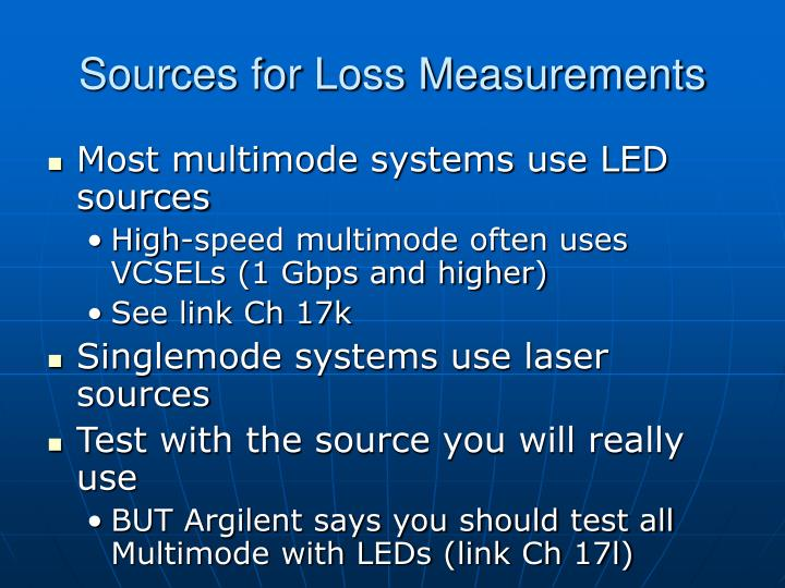 Sources for Loss Measurements