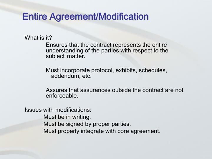 Entire Agreement/Modification