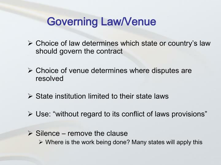 Governing Law/Venue