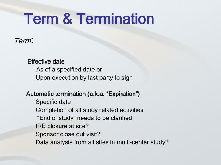 Term & Termination
