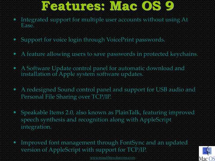Features mac os 9