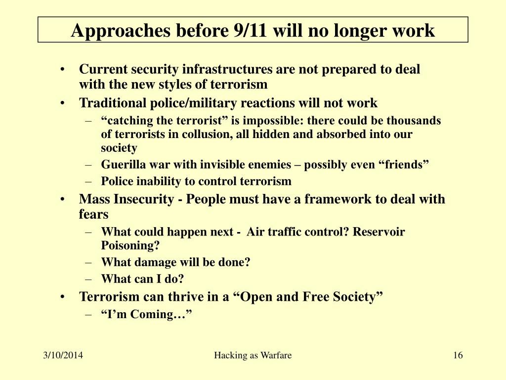 Approaches before 9/11 will no longer work