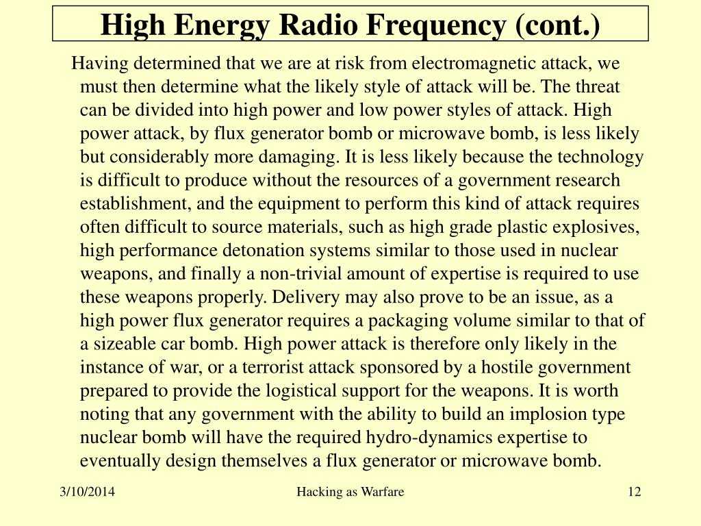 High Energy Radio Frequency (cont.)