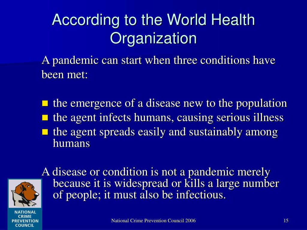 According to the World Health Organization