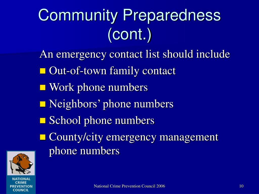 Community Preparedness (cont.)
