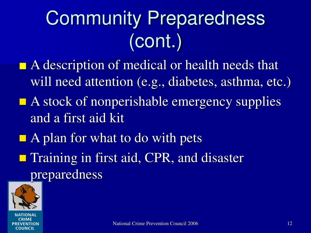 Community Preparedness (cont.)