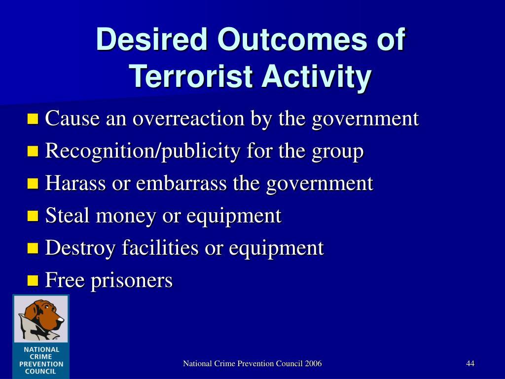 Desired Outcomes of Terrorist Activity
