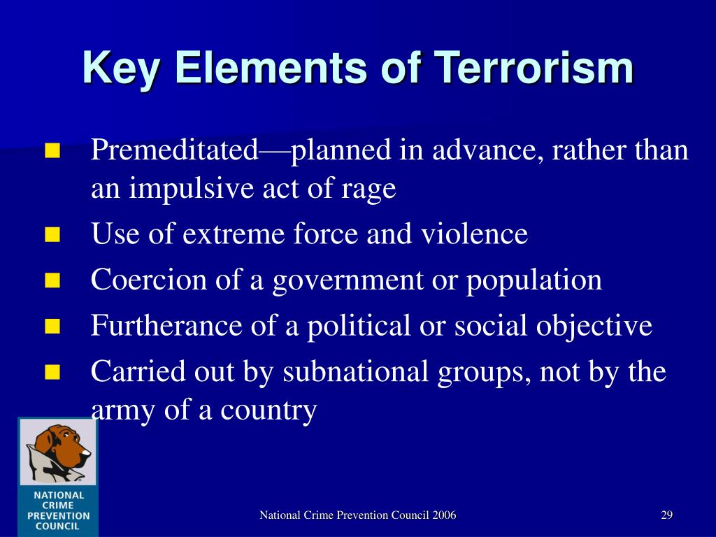 Key Elements of Terrorism