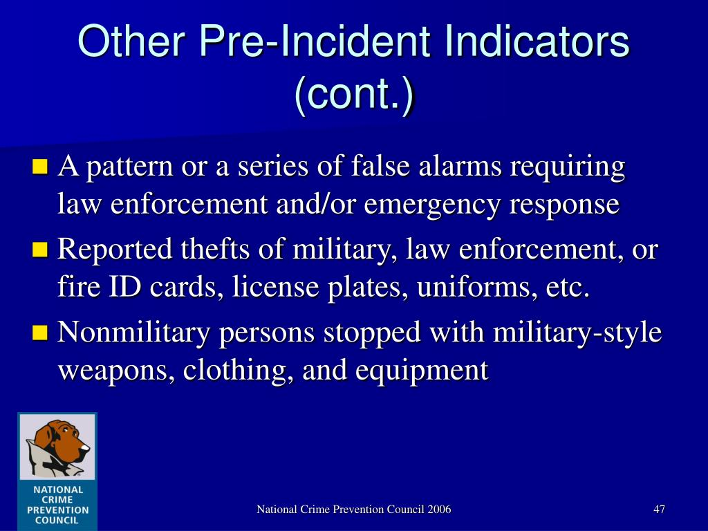 Other Pre-Incident Indicators (cont.)
