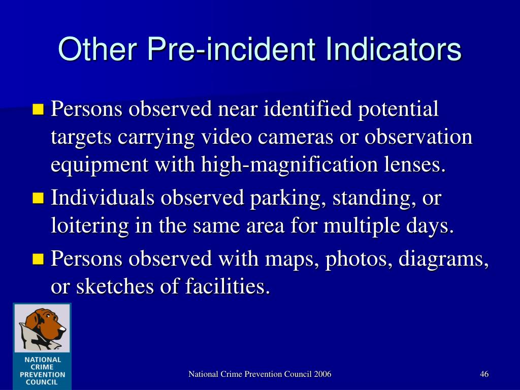 Other Pre-incident Indicators