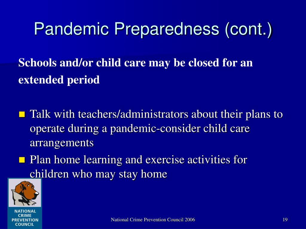 Pandemic Preparedness (cont.)