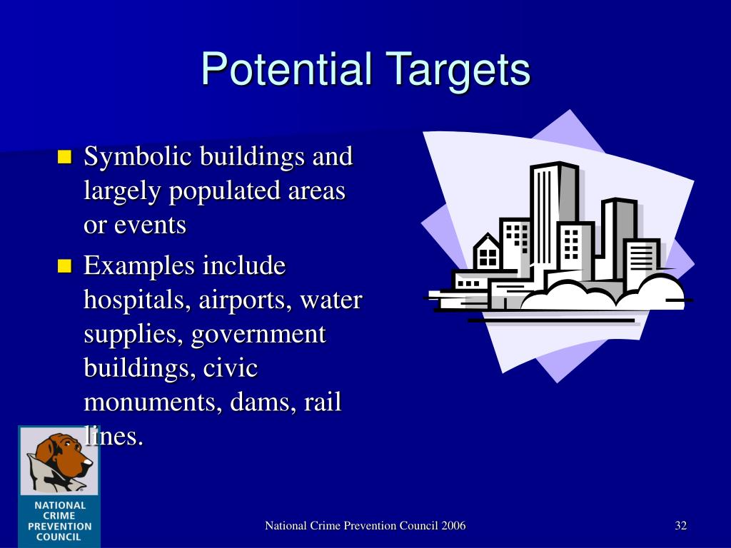 Symbolic buildings and largely populated areas or events