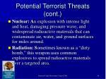 potential terrorist threats cont