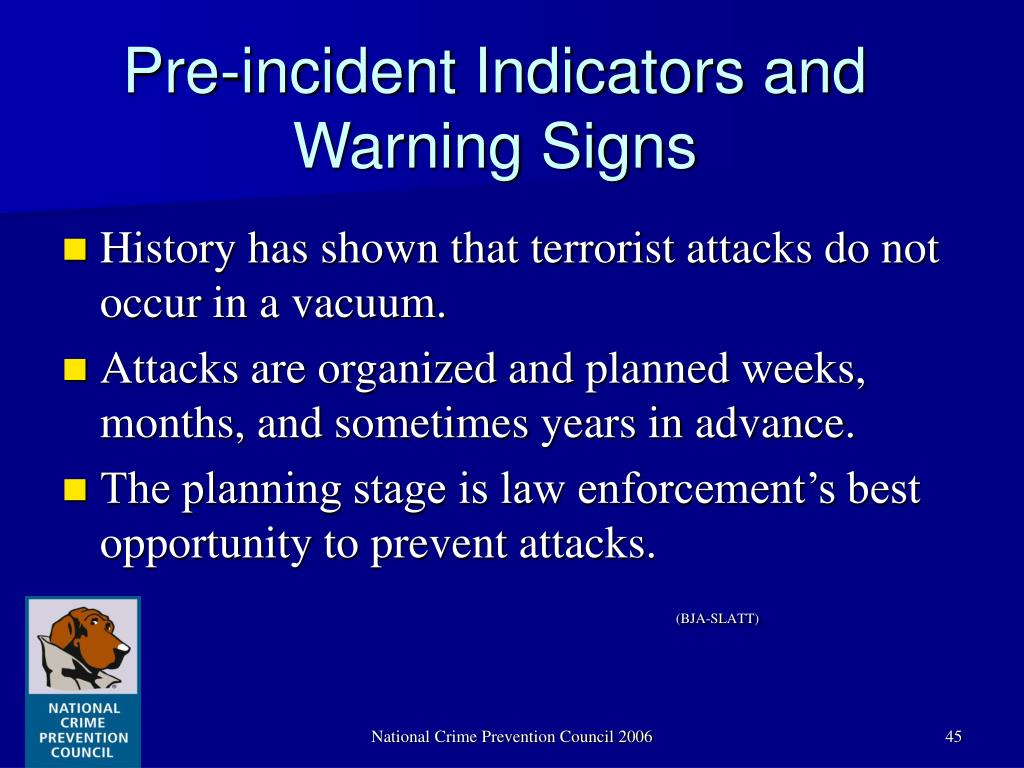 Pre-incident Indicators and Warning Signs