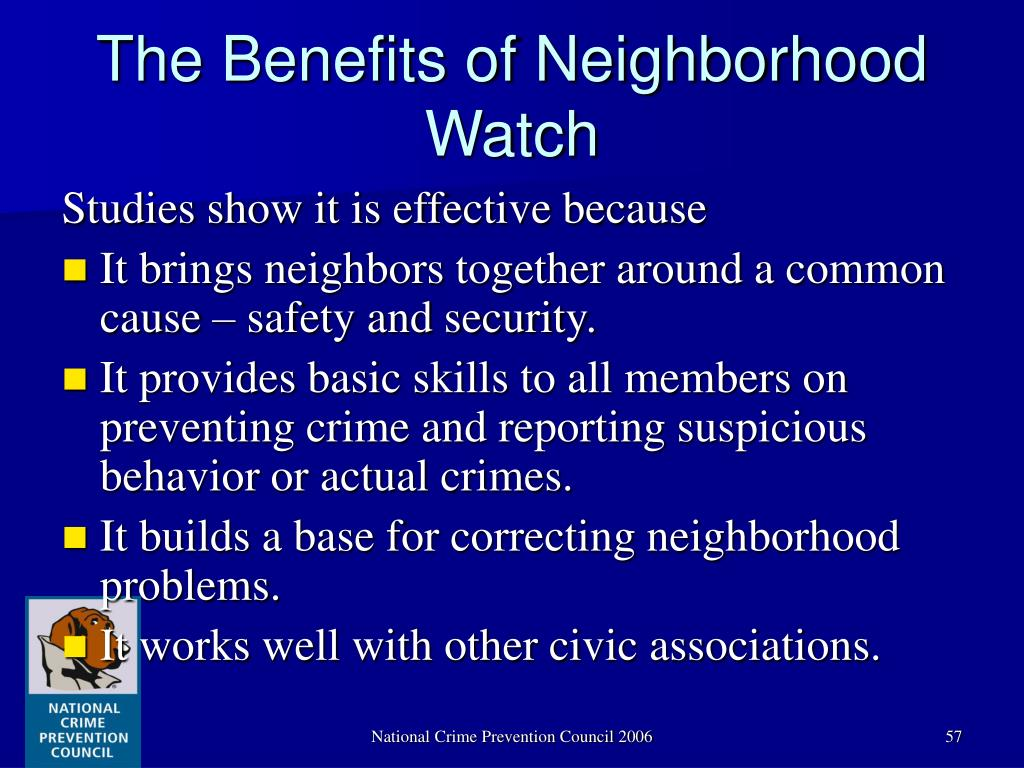 The Benefits of Neighborhood Watch